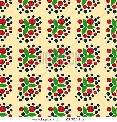 Raspberry seamless pattern fresh berry red ripe background vegetarian ingredient summer dessert vector illustration. Nature vitamin healthy raw tasty sweet freshness juicy food.