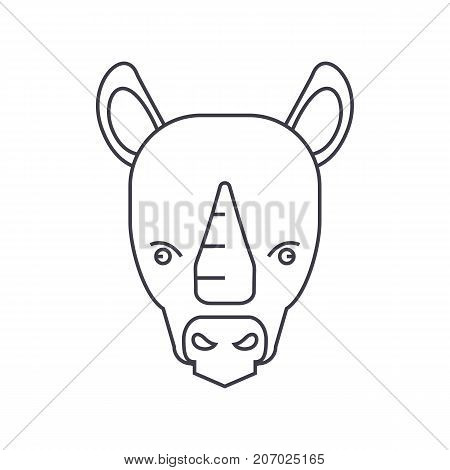 rhinoceros vector line icon, sign, illustration on white background, editable strokes