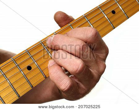 Close-up Of A Guitarist Fingering Chords Against A White Background