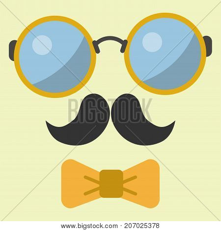 Vector hipster glasses retro hair style mustache