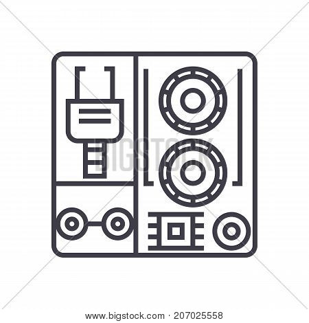 robot industrial kits vector line icon, sign, illustration on white background, editable strokes