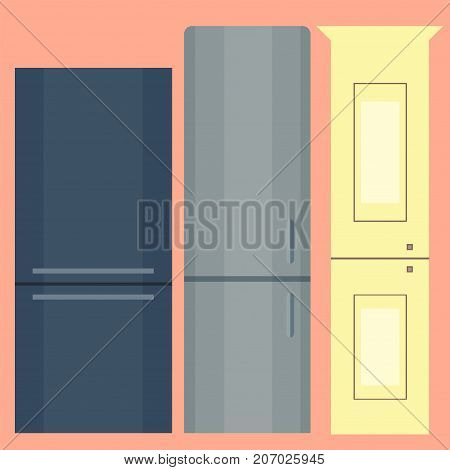 Stainless refrigerator with food industrial metallic cuisine kitchenware and household utensil fridge appliance vector illustration. Modern technology single electricity dish cooler equipment.