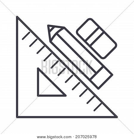 rule pen and eraser, graphic tools vector line icon, sign, illustration on white background, editable strokes