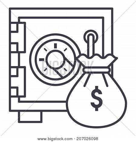 safe bank with money bag vector line icon, sign, illustration on white background, editable strokes