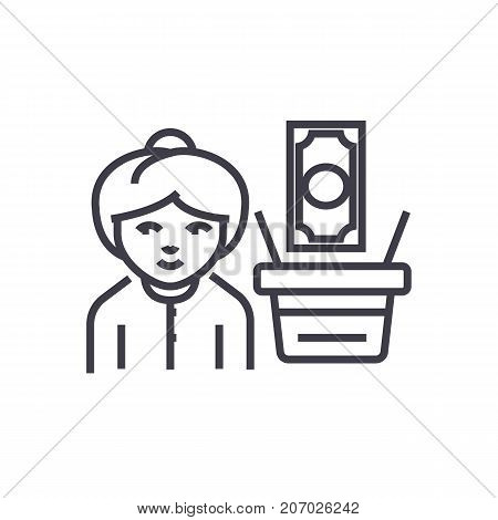 salary, woman with money vector line icon, sign, illustration on white background, editable strokes