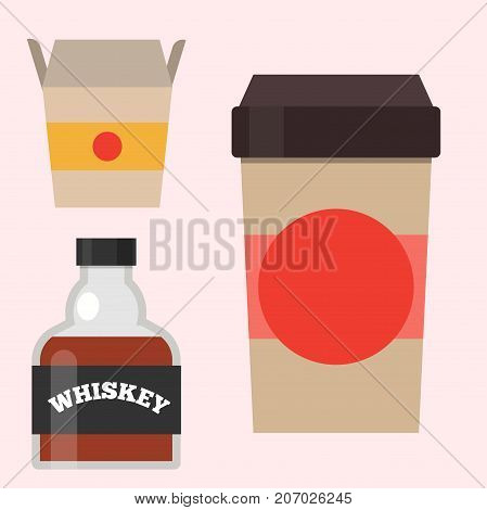 Full whiskey bottle glass liquor scotch beverage whisky bourbon drink brandy vector illustration. Elegance old elegance drunk coffee to go cup.