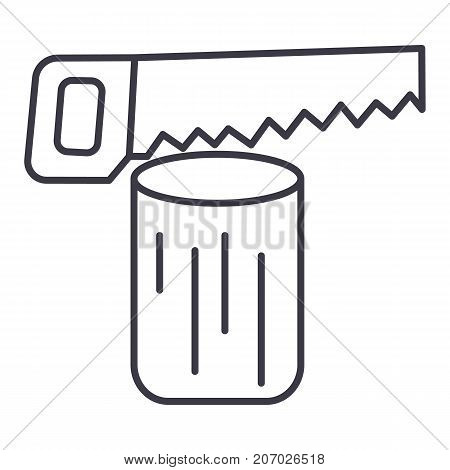 saw log, chainsaw  vector line icon, sign, illustration on white background, editable strokes