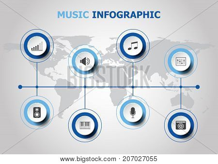 Infographic design with music icons, stock vector