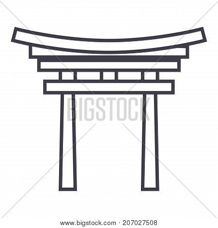 shinto vector line icon, sign, illustration on white background, editable strokes