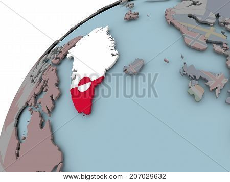 Map Of Greenland With Flag