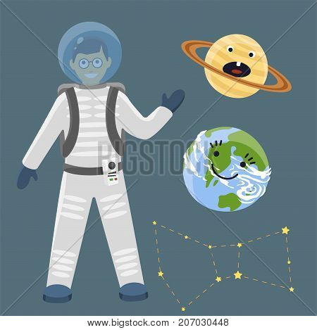 Astronaut in space landing different planets spaceship solar system future exploration space ship cosmonaut vector illustration. Galaxy atmosphere system fantasy nature spacecraft.