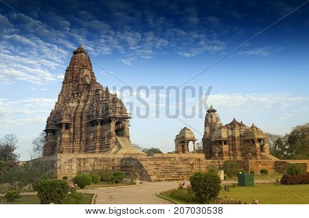 Kandariya Mahadeva Temple dedicated to Shiva Western Temples of Khajuraho Madyha Pradesh India - UNESCO world heritage site. Popular tourist destination for tourists all over the world.