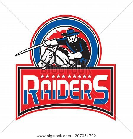 Retro style illustration of Cavalry Trooper on horseback riding horse with sword Charging set inside circle with text Raiders on isolated background.