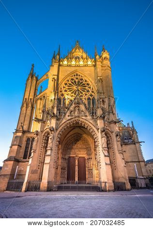 The Cathedral of Saint Stephen of Metz, France, (Cathédrale Saint Étienne). It is the historic cathedral of the Roman Catholic Diocese of Metz and the seat of the Bishop of Metz