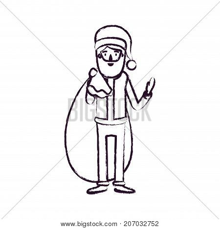 santa claus caricature full body with gift bag hat and costume blurred silhouette on white background vector illustration