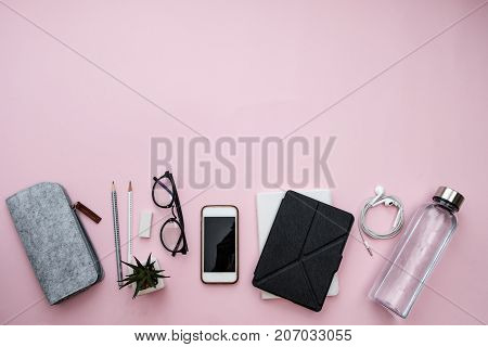 Office Workplace With Glasses, Notebook, Phone, Sheet, Pencils, Water, Headphones, Plant, Pencils On