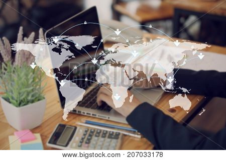 World Map And Connection Lines. Social Media, Technology Connectivity Concept
