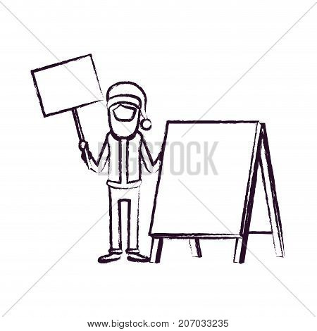 santa claus caricature faceless full body holding a wooden poster and empty advertising with hat and costume blurred silhouette on white background vector illustration