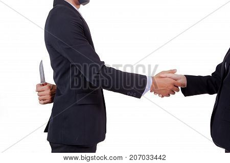 Stab Back,two Business Men Making A Deal But Hiding Knives