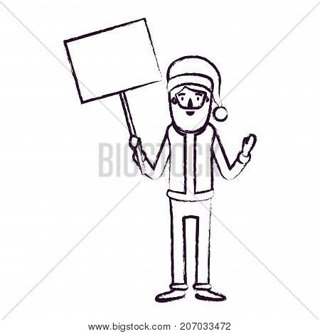 santa claus caricature full body holding a poster with pole with hat and costume blurred silhouette on white background vector illustration