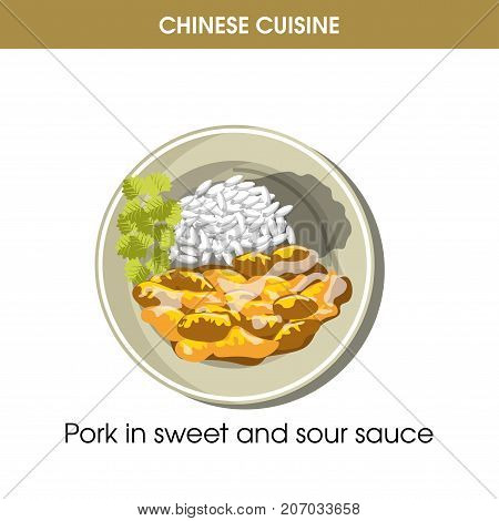 Chinese cuisine pork meat traditional dish in sweet and sour sauce and rice garnish on plate. Vector flat isolated icon for China restaurant menu or cooking recipe template