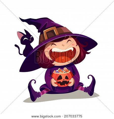 Halloween little witch. Girl kid in Halloween costume holds a pumpkin with full of candies. Isolated.