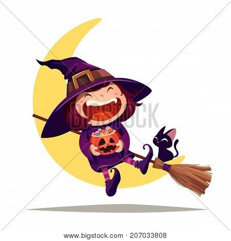 Halloween little witch. Girl kid in Halloween costume sits on the moon. Isolated.