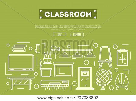 School classroom poster with desk, chair, doorway, lamp, floor whiteboard, globe, air conditioner, blackboard linear elements. Class interior design, modern school decoration vector illustration
