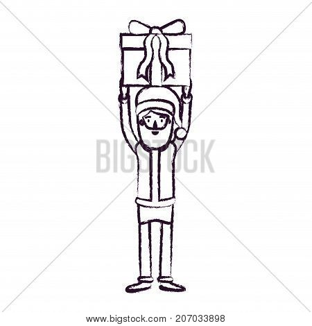 santa claus caricature full body holding up a gift with hat and costume blurred silhouette on white background vector illustration