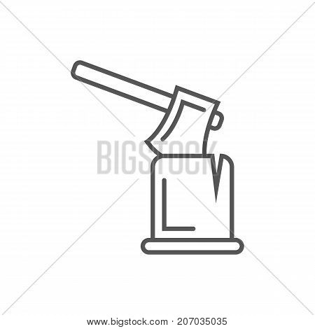 Ax in log icon in linear style. Joinery workshop product and equipment, sawmill element, woodwork tool vector illustration.