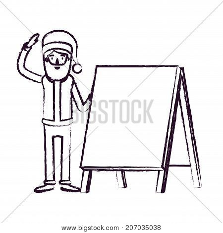 santa claus caricature full body with a placard with hat and costume blurred silhouette on white background vector illustration