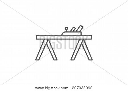 Carpenters plane icon in linear style. Joinery workshop product and equipment, sawmill element, woodwork tool vector illustration.