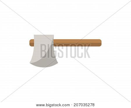 Carpenters hatchet icon in flat style. Joinery workshop product and equipment, sawmill element, woodwork tool vector illustration.
