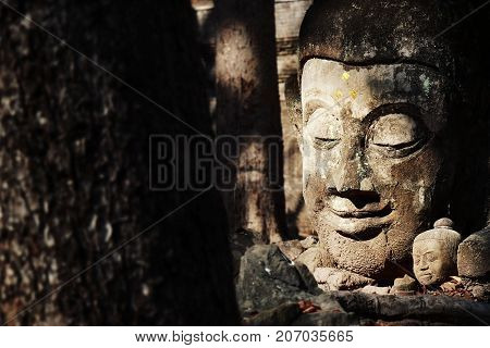 Worship of buddha statue in Thailand History of Thailand. Buddha statue at Chiangmai Historical temple. Chiang Mai Province Thailand Asia