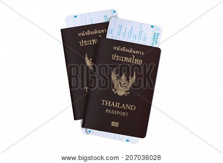 Tourist visa travel industry concept: Thailand passport for Thai population people with arrival and departure card from Thai immigration bureau isolate on white background with clipping path