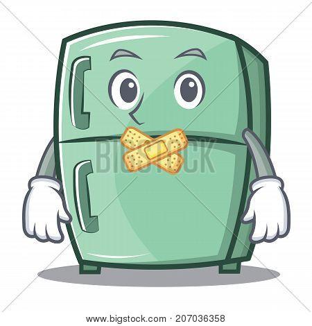 Silent cute refrigerator character cartoon vector illustration