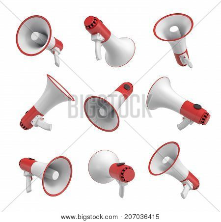 3d rendering of a set of several white and red megaphones in different angles on white background. Public speaking. Sport event equipment. Emergency notification tools.