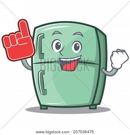 Foam finger cute refrigerator character cartoon vector illustration