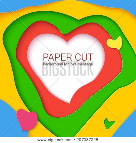 Color templates with paper cut shapes, modern abstract design. Realistic multi layers, carving of paper. Papercut shapes with shadow. Vector 3D Illustration for romantic cards, postr, or banners