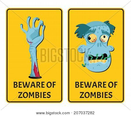 Beware of zombies labels with monster body parts. Halloween party attribute with funny undead man, festive horror event stickers. Symbol collection with cute walking dead vector illustration.