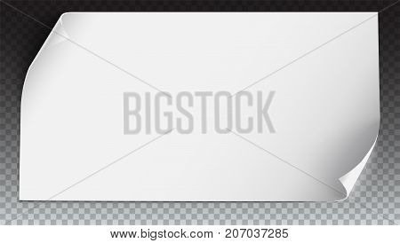 Vector curved paper banner on transparent background. White blank curved paper, horizontal banner, isolated on transparent. Realistic vector paper template with curl corners, 3D illustration.