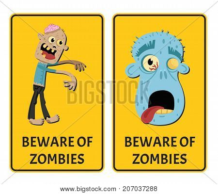Beware of zombies sticker set with monster. Halloween holiday attribute with funny undead man, festive horror event labels. Symbol collection with cute walking dead character vector illustration.