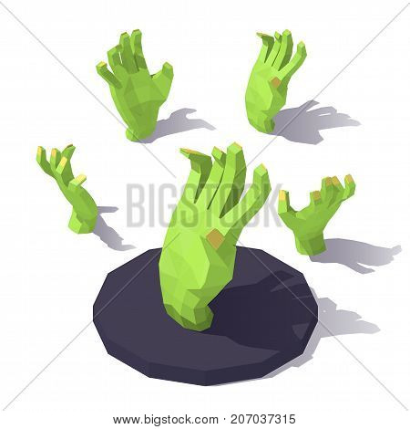 Vector isometric low poly hand of the zombie. Halloween attributes. Hand of the zombie from different angles.