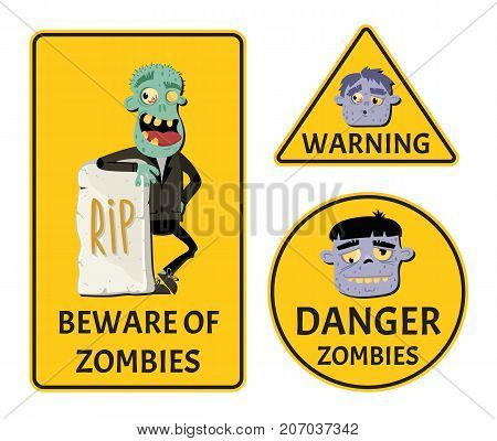 Beware of zombies stickers set for halloween party. Holiday attribute with happy undead man, festive horror event labels. Danger symbol collection with cute walking dead vector illustration.