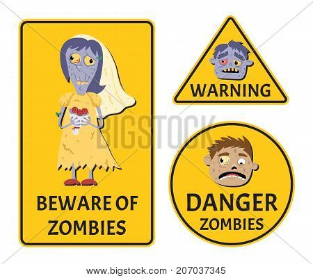 Beware of zombies warning stickers set for halloween party. Holiday attribute with happy undead, festive horror event labels. Danger symbol collection with cute monster vector illustration.