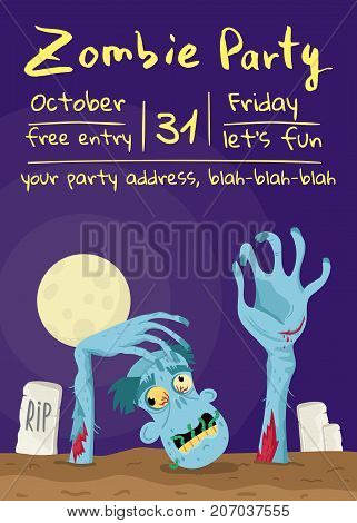 Zombie party poster with walking dead man in cemetery. Halloween holiday banner with funny undead man, festive horror event invitation. Cute monster character on placard vector illustration