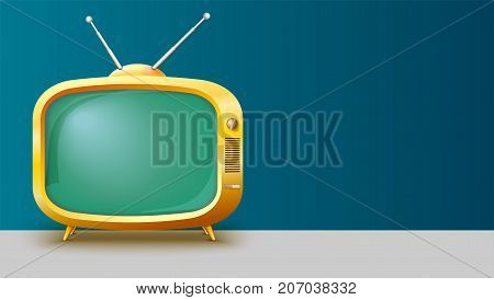 Template with retro yellow TV set for advertisement on horizontal long backdrop, 3D illustration with place for text. Realistic vintage TV with blank screen.