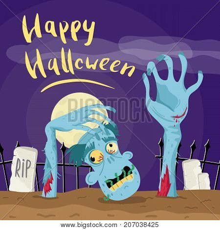 Happy Halloween poster with zombie in graveyard at full moon. Holiday advertising with funny undead, festive horror event banner. Cute walking dead characters in cemetery vector illustration