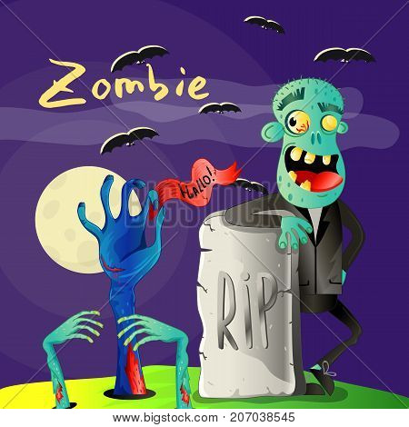 Halloween poster with smiling zombie near rip gravestone. Holiday party banner with undead man, festive horror event. Walking dead character, zombie hands sticking out from ground vector illustration
