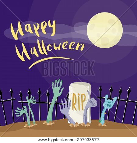 Happy Halloween poster with zombies hands in graveyard. Walking dead in cemetery vector illustration. Halloween advertising with funny undead, festive horror event invitation template.